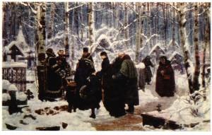 К.А. Савицкий, «Панихида в 9-й день на кладбище», 1885 г.