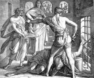 """Юлиус Шнорр фон Карольсфельд. Гравюра """"Смерть Иоанна Крестителя""""."""