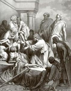 Поль Гюстав Доре. Иисус Христос исцеляет больных. (1843).