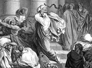 Поль Гюстав Доре. Иисус изгоняет торговцев из храма.