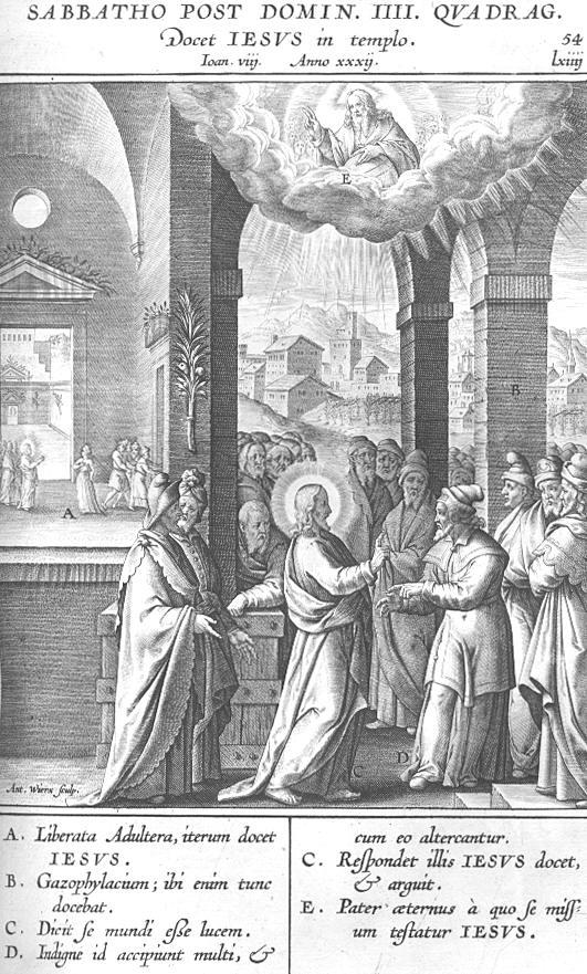 "Иисус учит в храме. Джером Надаль, ""Evangelicae Historiae"", 1593."