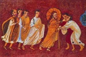 Исцеление двух слепцов из Иерихона. Миниатюра из Синопского Евангелия. VI в. (BNF. Suppl. Gr. 1286. Fol. 10 v)