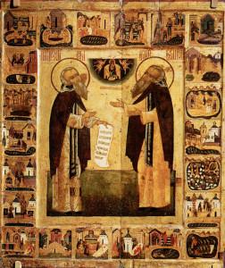 Свв. Зосима и Савватий Соловецкие. Житийная икона XVI в.