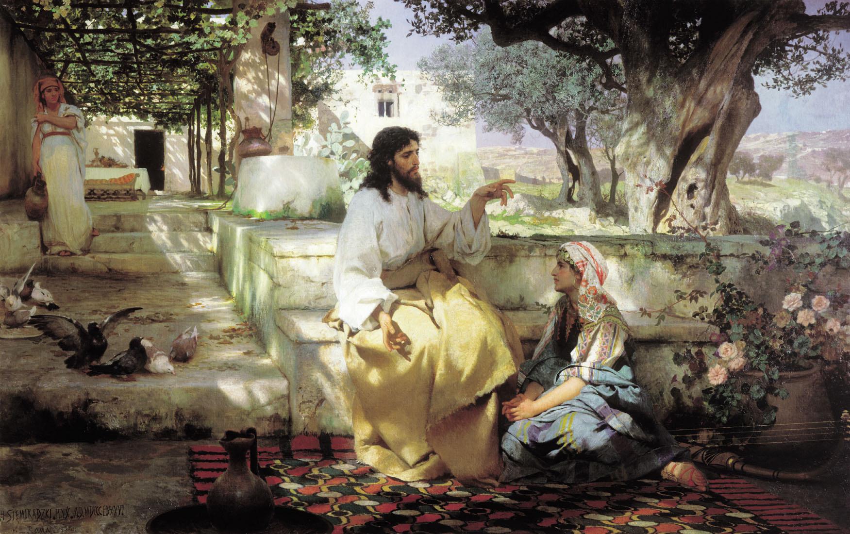 Генрих Семирадский. Христос у Марфы и Марии.