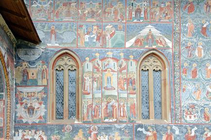 Фрески на стене монастыря Сучевица, Буковина, Румыния © Некрасов Андрей / Фотобанк Лори