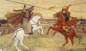Куликовская битва. Бой монаха Александра (Пересвета) и татарского богатыря Челубея