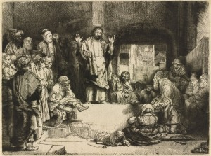 Рембрандт. Проповедующий Христос. Ок. 1652 г. Офорт. 15,6 х 20,6 см. Музей Метрополитен, Нью-Йорк.