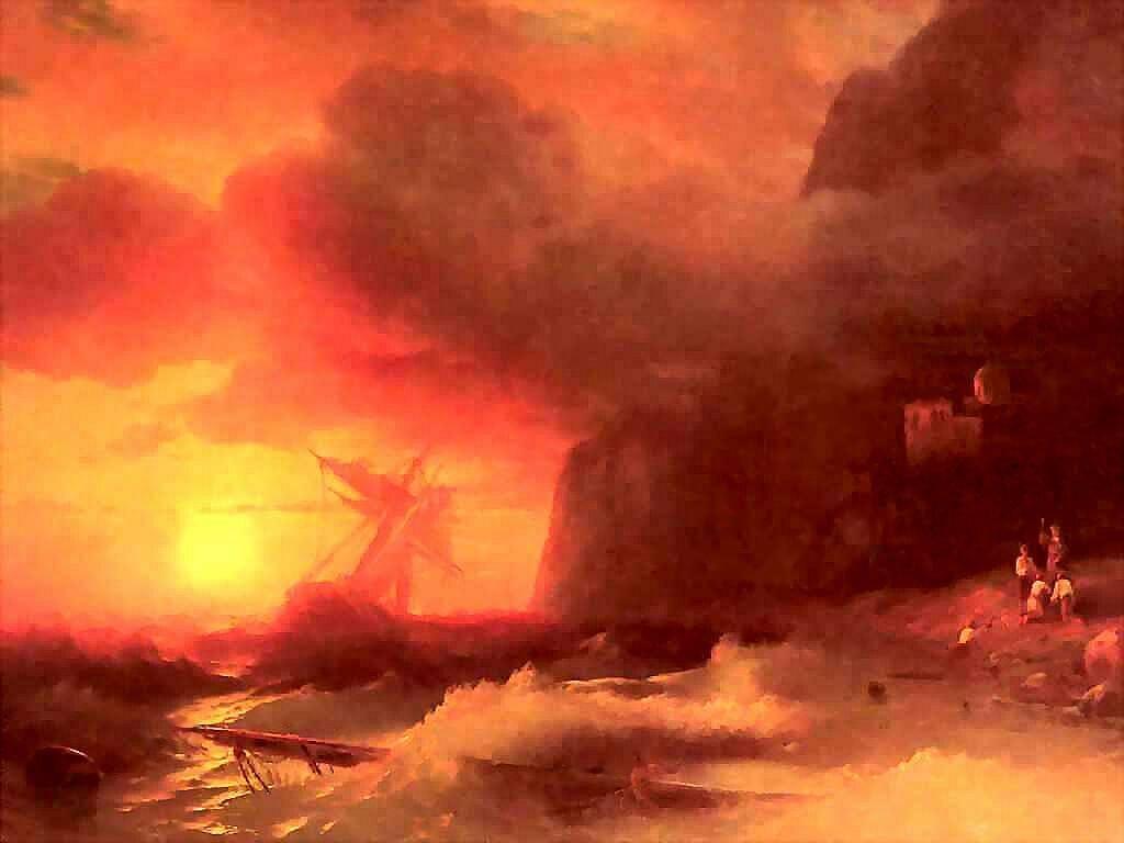 Иван Айвазовский, картина 1856г 'Кораблекрушение у Афонской горы' .