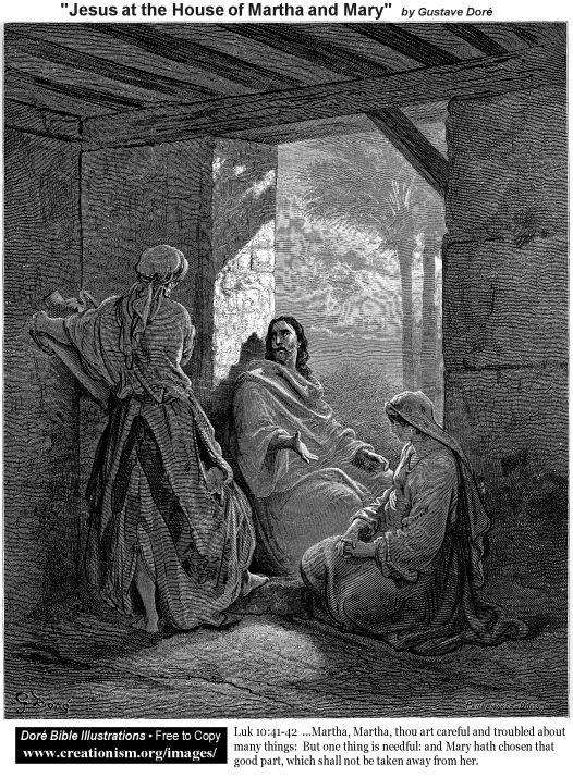 Иисус у Марфы и Марии. Гюстав Доре.