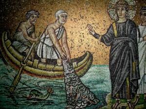 Призвание Симона и Андрея. Мозаика церкви Аполлинария Нового. Равенна. VI век.