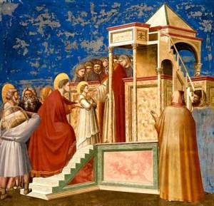 Джотто ди Бондоне. Введение Богородицы во храм. Фреска.