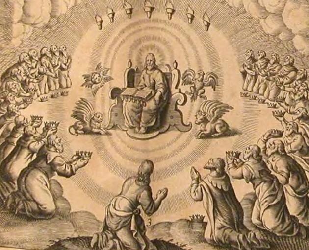 «И видел я в деснице у Сидящего на престоле книгу, написанную внутри и отвне, запечатанную семью печатями». Гравюра, 1674 год.
