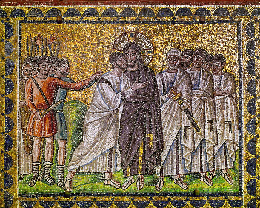 Поцелуй Иуды. Базилика Сант-Аполлинаре-Нуово (итал. Basilica di Sant'Apollinare Nuovo) — раннехристианская базилика в Равенне (Италия). Построена в кон  V — нач VI веков