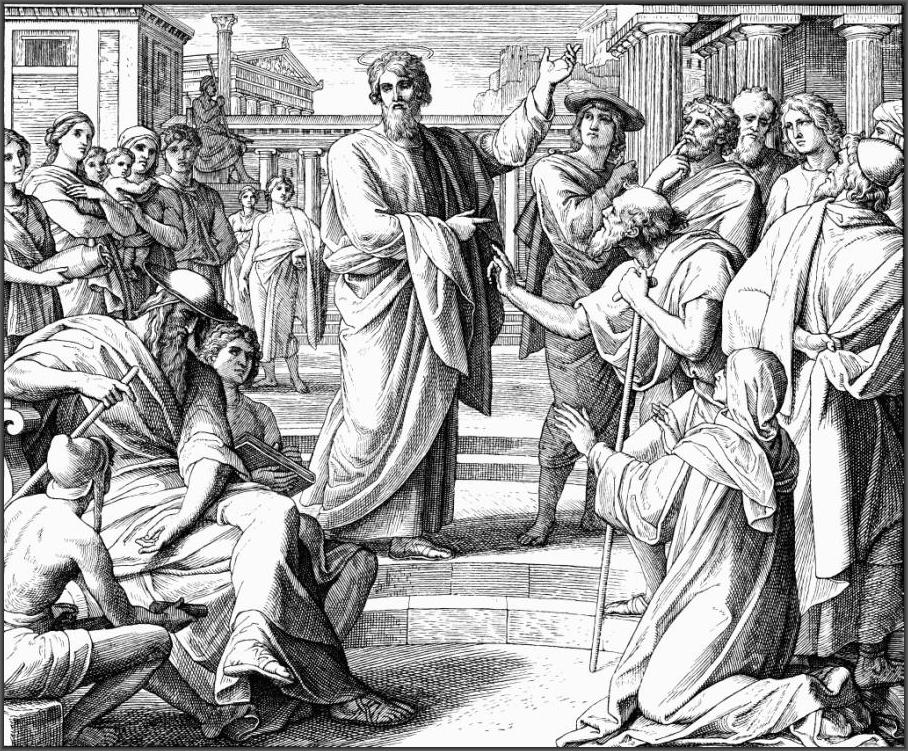 Проповедь Павла в Афинах. Юлиус Шнорр фон Каросфельд.