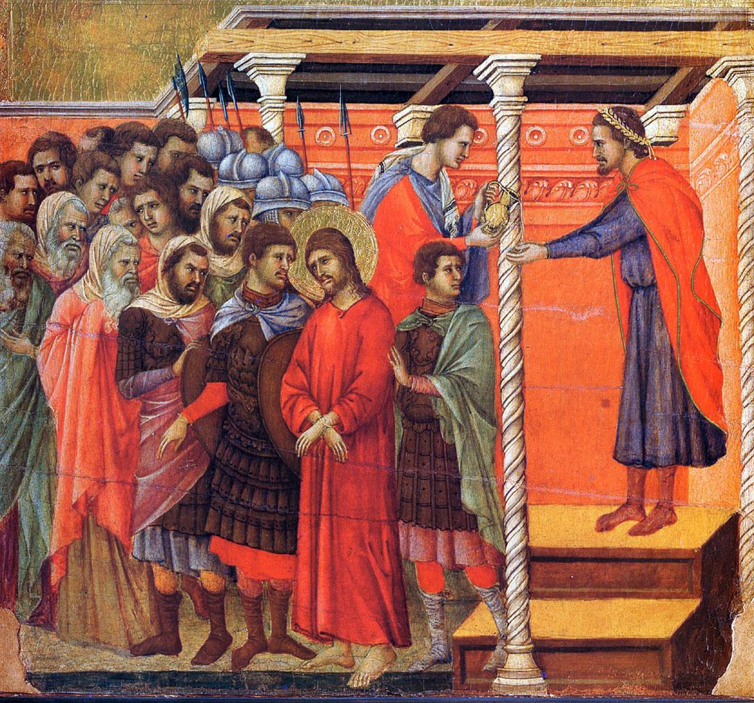 Понтий Пилат умывает руки. Дуччо ди Буонинсенья.