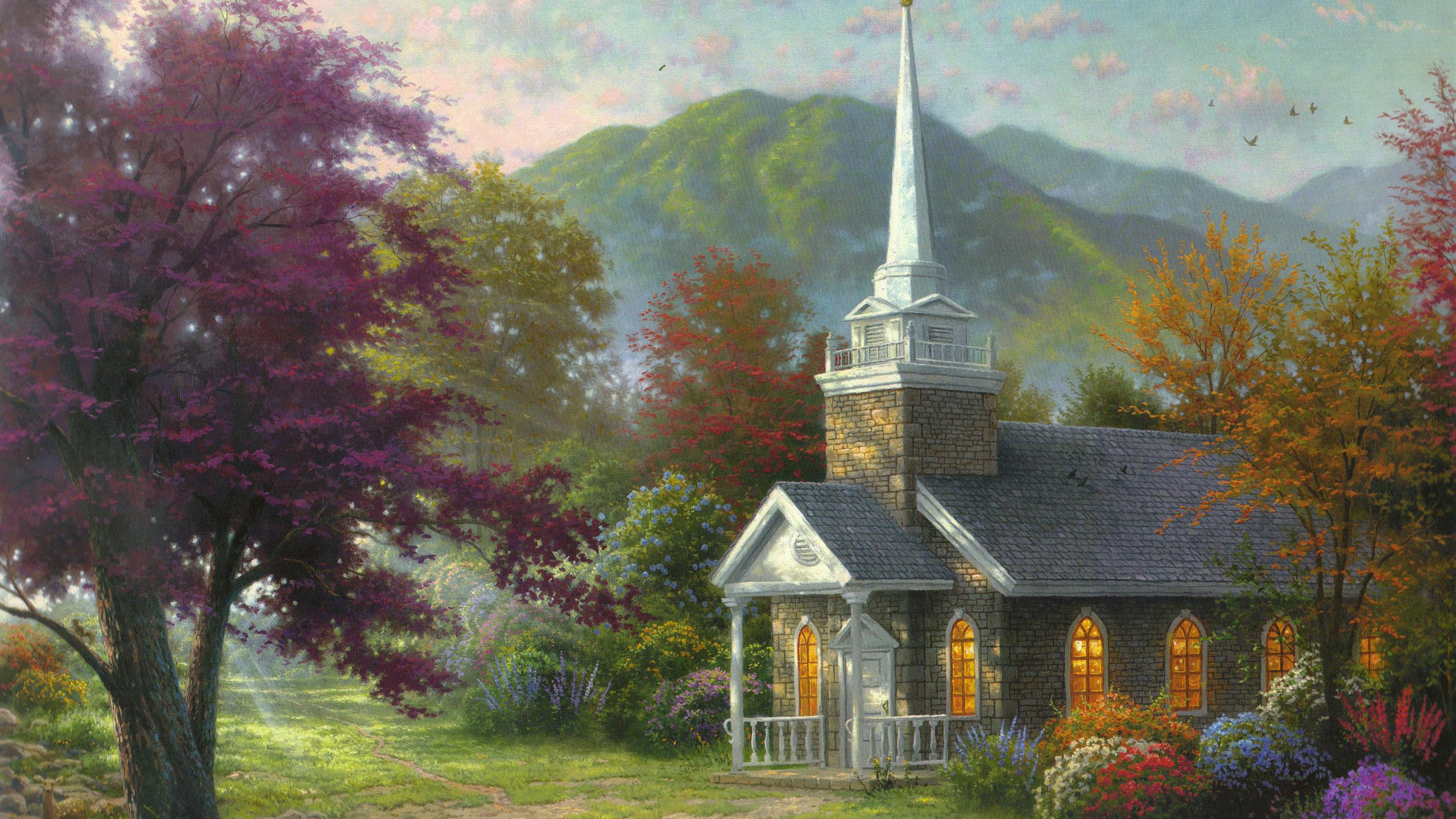 Томас Кинкейд. Пейзаж с церковью.
