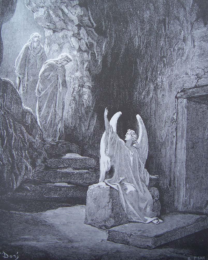 Ангел и жены-мироносицы. Гюстав Доре.