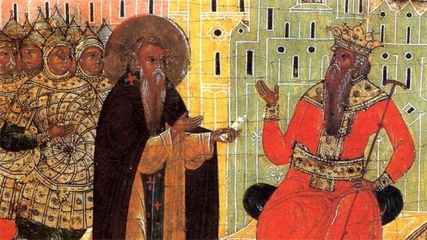 Прп. Максим обличает монофелитскую ересь перед императором