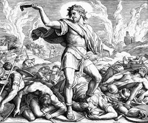 филистимляне кто это? Самсон поражает филистимлян ослиной челюстью. Юлиус Шнорр фон Каросфельд.
