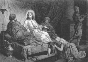 Женщина омывает ноги Иисуса